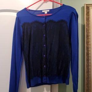 Black lace blue sweater
